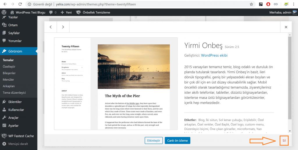 WordPress Tema Silme
